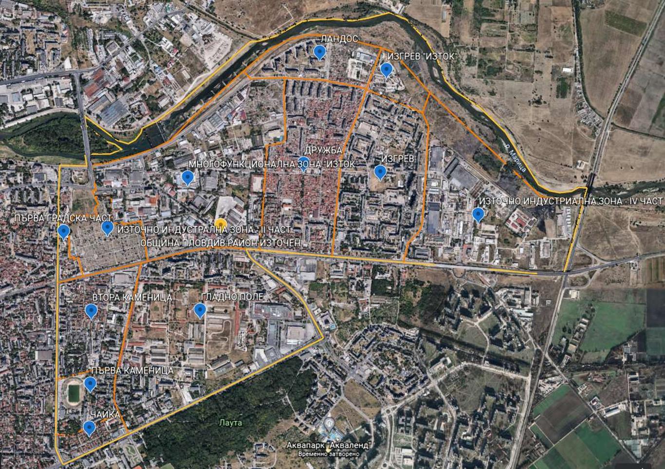 Карта на Район Източен Пловдив